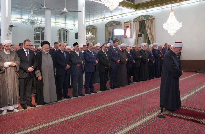 الرئيس الأسد يشارك في الاحتفال الديني بذكرى المولد النبوي الشريف في رحاب جامع المرابط بـ دمشق