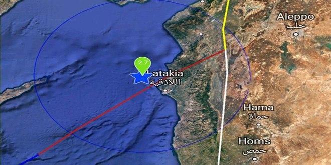 هزة خفيفة قبالة الساحل السوري
