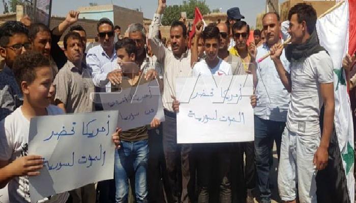 تظاهرات في قرية طرطب بريف القامشلي ضد الاحتلال الأمريكي