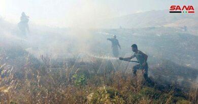 قوات الاحتلال الإسرائيلي تفتعل حريقاً في أراضي قرية سحيتا المحتلة يمتد إلى الأراضي المحررة بالقنيطرة