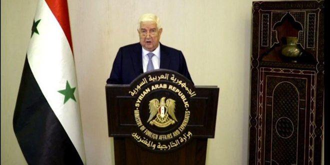 """في كلمة سورية أمام الجمعية العامة.. المعلم: ما يسمى """"قانون قيصر"""" يهدف إلى خنق الشعب السوري"""