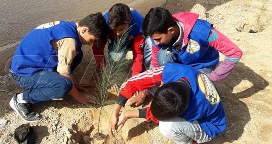تنفيذ حملة تطوعية لزراعة الغراس والنباتات في تدمر