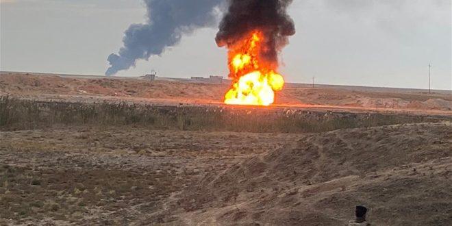 تفجيران في حقل خباز النفطي شمال العراق