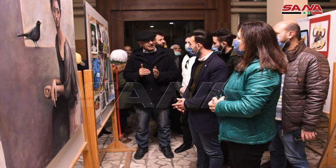 """افتتاح معرض """"إبداع طلبة جامعة حلب ضد كورونا .. الفن علاجا"""""""